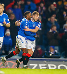 01.12.2019 Rangers v Hearts: Greg Stewart scores goal no 5 for Rangers and celebrates with Jermain Defoe