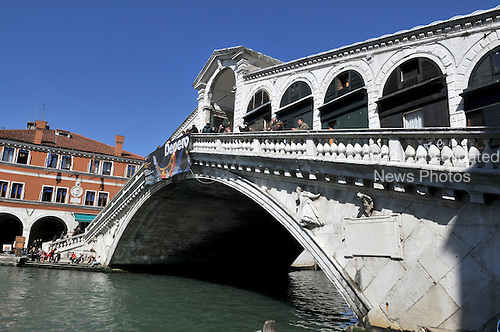 Venice, Italy - March 16, 2009 -- View of the Rialto Bridge from the South shore of the Grand Canal on Monday, March 16, 2009..Credit: Ron Sachs / CNP
