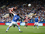 Jack O'Connell of Sheffield Utd gets above Steven Fletcher of Sheffield Wednesday during the Championship match at the Hillsborough Stadium, Sheffield. Picture date 24th September 2017. Picture credit should read: Simon Bellis/Sportimage