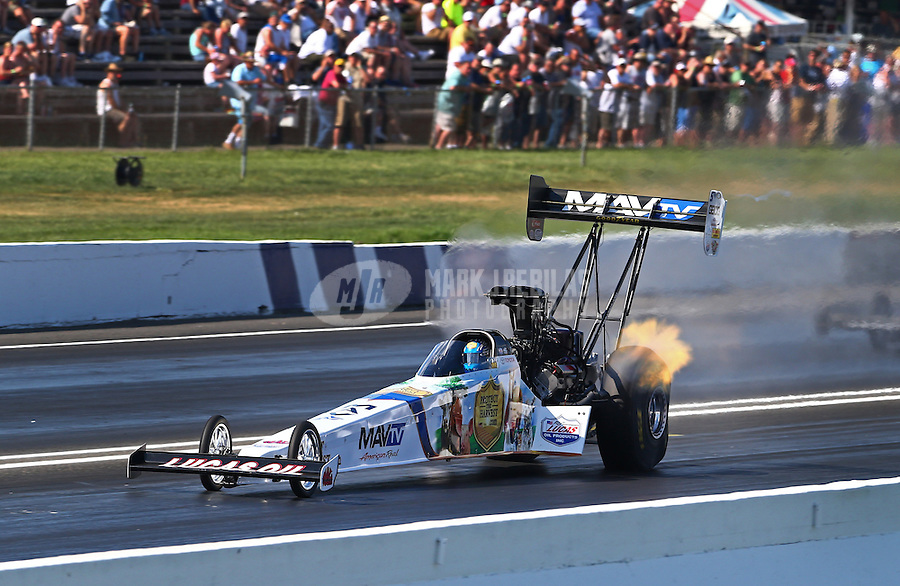 Jun. 1, 2013; Englishtown, NJ, USA: NHRA top fuel driver Brandon Bernstein during qualifying for the Summer Nationals at Raceway Park. Mandatory Credit: Mark J. Rebilas-