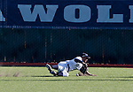 February 24, 2012:   Nevada Wolf Pack centerfielder Jay Anderson dives to keep the ball from going to the fence against the Utah Valley Wolverines during their NCAA baseball game played at Peccole Park on Friday afternoon in Reno, Nevada.