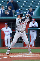 Wisconsin Timber Rattlers right fielder Chad McClanahan (9) during a Midwest League game against the Lansing Lugnuts at Cooley Law School Stadium on May 1, 2019 in Lansing, Michigan. Wisconsin defeated Lansing 2-1 in the second game of a doubleheader. (Zachary Lucy/Four Seam Images)