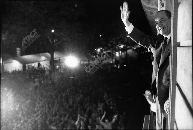President-elect Jacques Chirac, victory night, campaign HQs , avenue d'Iena, Paris, France, May 7, 1995