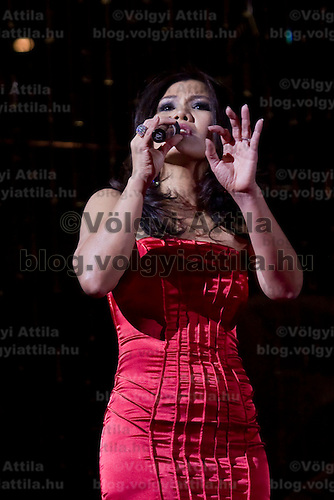 Singer Christina Bien performs during durng a Dior fashion show organized by Luxury Club, held in Hotel Sofitel, Budapest, Hungary. Thursday, 26. November 2009. ATTILA VOLGYI