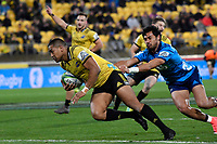 Hurricanes&rsquo; Julian Savea in action during the Super Rugby - Hurricanes v Blues at Westpac Stadium, Wellington, New Zealand on Saturday 7 July 2018.<br /> Photo by Masanori Udagawa. <br /> www.photowellington.photoshelter.com