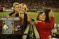 15 September 2007: Elizabeth, the daughter of Bill Walsh with Geri Walsh during the Bill Walsh Legacy Game trophy presentation during Stanford's 37-0 win over San Jose State at Stanford Stadium in Stanford, CA.