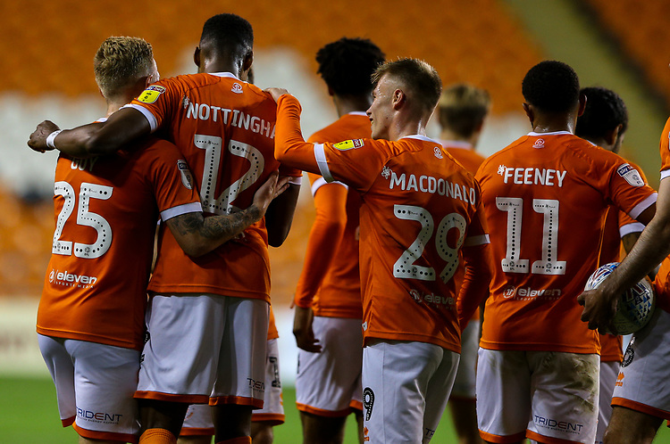 Blackpool's Michael Nottingham celebrates with teammates<br /> <br /> Photographer Alex Dodd/CameraSport<br /> <br /> EFL Leasing.com Trophy - Northern Section - Group G - Blackpool v Morecambe - Tuesday 3rd September 2019 - Bloomfield Road - Blackpool<br />  <br /> World Copyright © 2018 CameraSport. All rights reserved. 43 Linden Ave. Countesthorpe. Leicester. England. LE8 5PG - Tel: +44 (0) 116 277 4147 - admin@camerasport.com - www.camerasport.com