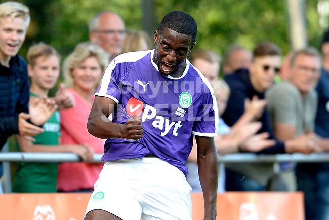 NORG - Voetbal, FC Groningen - SV Meppen, voorbereiding seizoen 2018-2019, 13-07-2018, FC Groningen speler Ahmad Mendes Moreira viert de 1-0