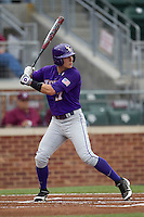 LSU Tigers outfielder Jared Foster (17) at bat against the Texas A&M Aggies in the NCAA Southeastern Conference baseball game on May 10, 2013 at Blue Bell Park in College Station, Texas. LSU defeated Texas A&M 7-4. (Andrew Woolley/Four Seam Images).