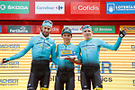 Astana Pro Team riders on the podium at the end of Stage 18 of the 2017 La Vuelta, running 169km from Suances to Santo Toribio de Li&eacute;bana, Spain. 7th September 2017.<br /> Picture: Unipublic/&copy;photogomezsport | Cyclefile<br /> <br /> <br /> All photos usage must carry mandatory copyright credit (&copy; Cyclefile | Unipublic/&copy;photogomezsport)