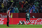 13th April 2018, Estadi Montilivi, Girona, Spain; La Liga football, Girona versus Real Betis; Real Betis players celebrating 1-0 to Betis in the 36th minute