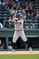 Outfielder Yonathan Daza (2) of the Asheville Tourists bats in a game against the Greenville Drive on Sunday, April 10, 2016, at Fluor Field at the West End in Greenville, South Carolina. Greenville won, 7-4. (Tom Priddy/Four Seam Images)