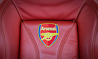 Arsenal seat in the dugout with stitched Arsenal badge ahead of the UEFA Europa League group stage match between Arsenal and FC Red Star Belgrade at the Emirates Stadium, London, England on 2 November 2017. Photo by PRiME Media Images.