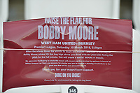 Bobby Moore flag during West Ham United vs Burnley, Premier League Football at The London Stadium on 10th March 2018