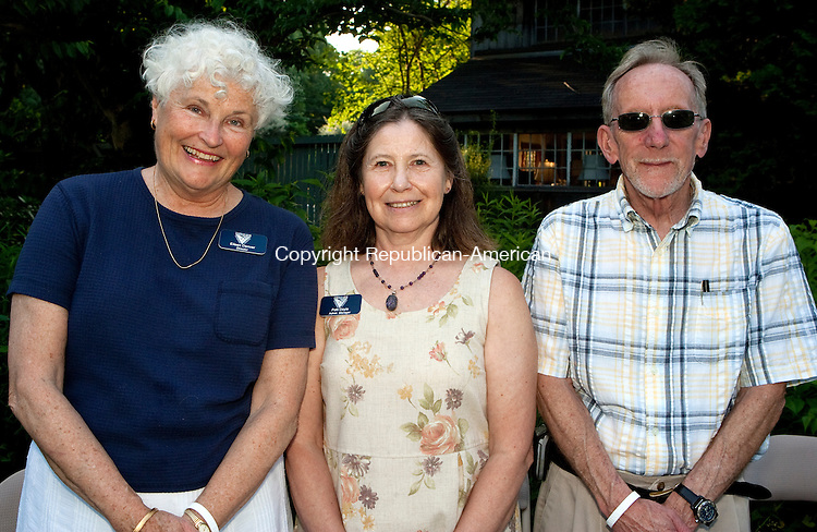 WOODBURY, CT-21 JUNE 2010-062110JS03-Pomperaug River Watershed Coalition Director Eileen Denver, Administration Director Patti Doyle and her husband Paul Doyle at the Pomperaug River Watershed Coalition's 10th anniversary celebration held at the Mill House Antiques in Woodbury.<br /> Jim Shannon Republican-American