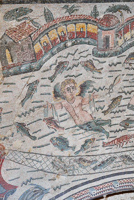 Close up detail of the Roman mosaics of the Semi Circular Room, depicting cupids fishing from boats, at the Villa Romana del Casale, first quarter of the 4th century AD. Sicily, Italy. A UNESCO World Heritage Site.