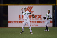 Hillsboro Hops left fielder Kevin Watson Jr (27) throws to the infield during a Northwest League game against the Salem-Keizer Volcanoes at Ron Tonkin Field on September 1, 2018 in Hillsboro, Oregon. The Salem-Keizer Volcanoes defeated the Hillsboro Hops by a score of 3-1. (Zachary Lucy/Four Seam Images)