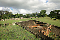 Ruins of the Ingenio de Diego Caballero sugar mill, originally owned by Don Diego Caballero de la Rosa, where sugar cane was processed using hydraulic power, at San Cristobal, Dominican Republic, in the Caribbean. The site includes many colonial era buildings, including <br /> the mill, boiling house, ditches and furnaces. Picture by Manuel Cohen