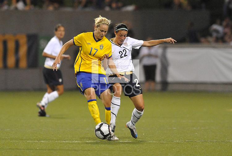 Lisa Dahlkvist #17, Sarah Huffman,..USWNT tied Sweden 1-1 at Morrison Stadium, Omaha Nebraska.