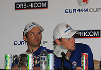 Paul Casey and Thomas Pieters (Team Europe) during a post match interview after winning the Eurasia Cup at Glenmarie Golf and Country Club on the Sunday 14th January 2018.<br /> Picture:  Thos Caffrey / www.golffile.ie