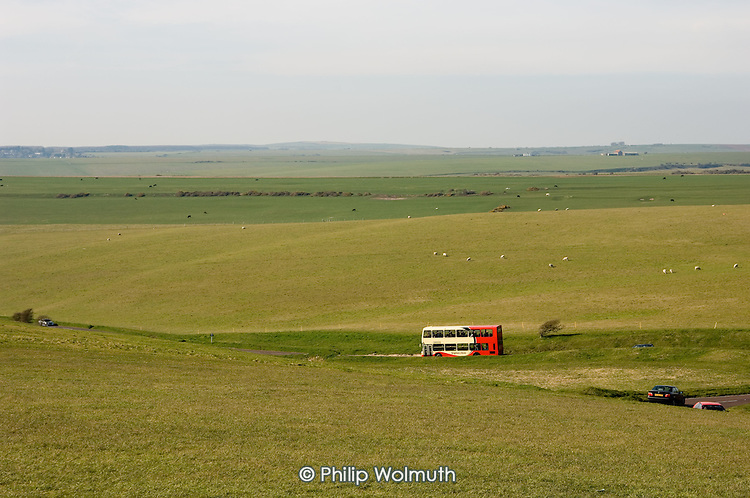 Rural bus service on the South Downs, East Sussex.