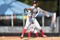 Lakewood BlueClaws starting pitcher Taylor Lehman (44) delivers a pitch during a game against the Asheville Tourists at McCormick Field on August 3, 2019 in Asheville, North Carolina. The BlueClaws defeated the Tourists 10-6. (Tony Farlow/Four Seam Images)