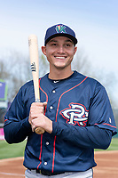 Cedar Rapids Kernels third baseman Andrew Bechtold (4) poses for a photo before a Midwest League game against the Kane County Cougars at Northwestern Medicine Field on April 28, 2019 in Geneva, Illinois. (Zachary Lucy/Four Seam Images)