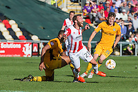 James Dayton of Cheltenham is fouled during the Sky Bet League 2 match between Newport County and Cheltenham Town at Rodney Parade, Newport, Wales on 10 September 2016. Photo by Mark  Hawkins / PRiME Media Images.