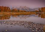 Wyoming, Northwestern, Jackson, Grand Teton National Park. Morning twilight in autumn witht the Teton Range Reflected at Schwabachers Landing on the Snake River.