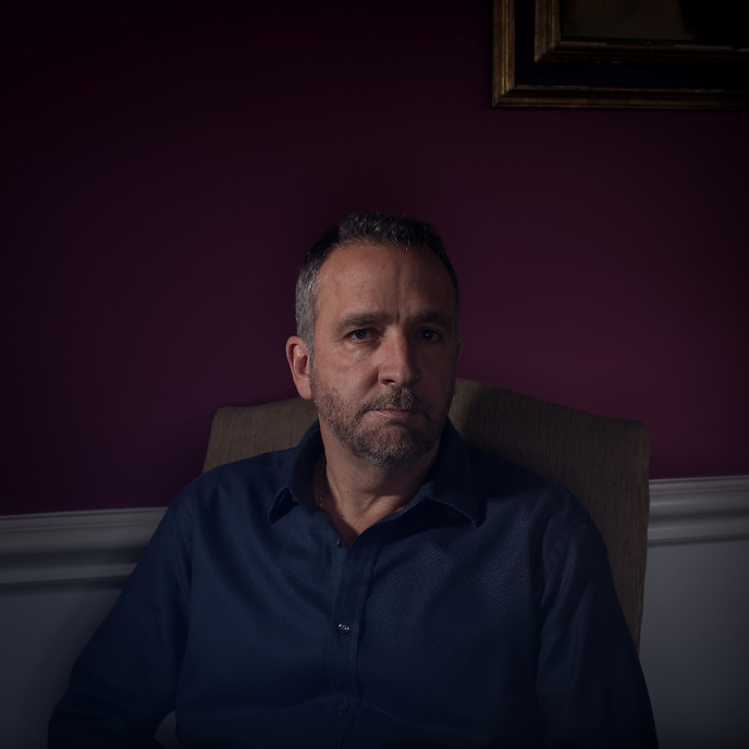SILVER SPRING, MD - MARCH 7, 2014: Portrait of writer George Pelecanos at his home near Washington, DC. CREDIT: Lance Rosenfield/Prime