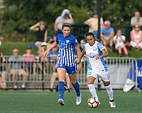 Allston, MA - Saturday August 19, 2017: Morgan Andrews, Marta Vieira Da Silva during a regular season National Women's Soccer League (NWSL) match between the Boston Breakers (blue) and the Orlando Pride (white/light blue) at Jordan Field.