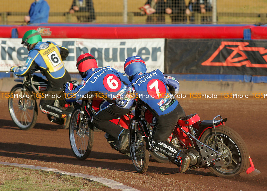 Heat 2 - Andersson (green), Lanham (red), Hurry - Lakeside Hammers vs Eastbourne Eagles - Elite League Speedway at Arena Essex - 15/06/07 - MANDATORY CREDIT: Gavin Ellis/TGSPHOTO - SELF-BILLING APPLIES WHERE APPROPRIATE. NO UNPAID USE -  Tel: 0845 0946026