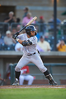Grand Junction Rockies Todd Isaacs (1) at bat during a Pioneer League game against the Grand Junction Rockies at Dehler Park on August 15, 2019 in Billings, Montana. Billings defeated Grand Junction 11-2. (Zachary Lucy/Four Seam Images)