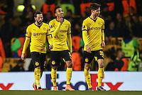 Pierre-Emerick Aubameyang of Borussia Dortmund (centre) celebrates scoring his second goal of the game to make it 0-2 during the UEFA Europa League match between Tottenham Hotspur and Borussia Dortmund at White Hart Lane, London, England on 17 March 2016. Photo by David Horn / PRiME Media Images