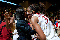 STANFORD, CA--Senior Nnemkadi Ogwumike celebrates senior day with her mother during PAC-12 conference play against Utah  at Maples Pavilion. The Cardinal won the matchup against the Utes 69-42.