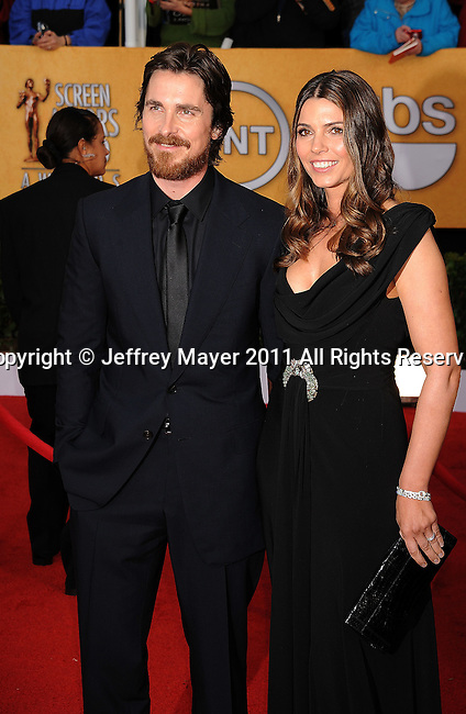 LOS ANGELES, CA - January 30: Christian Bale and wife Sibi Bale arrive at the 17th Annual Screen Actors Guild Awards held at The Shrine Auditorium on January 30, 2011 in Los Angeles, California.
