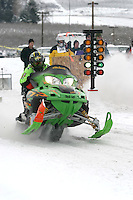 Snowmobilers from around the Pacific Northwest including Canada travel to Chelan, Washington during the Martin Luther King weekend to participate in snowmobile drag races during the annual WinterFest celebration