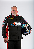 Feb 5, 2020; Pomona, CA, USA; NHRA top fuel driver Jim Maroney poses for a portrait during NHRA Media Day at the Pomona Fairplex. Mandatory Credit: Mark J. Rebilas-USA TODAY Sports