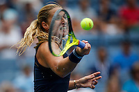 Dominika Cibulkova of Slovak returns the ball to Ana Ivanovic of Serbian during their match at the Arthur Ashe stadium during the US Open 2015 Tennis Tournament in New York. 08.31.2015.  Eduardo MunozAlvarez/VIEWpress.