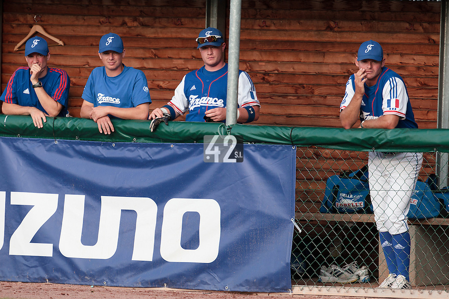 27 july 2010: Pierre Gabory, Anthony Piquet, David Gauthier, Jeff Zeilstra are seen in the dugout during Germany 10-9 victory over France, in day 5 of the 2010 European Championship Seniors, in Stuttgart, Germany.