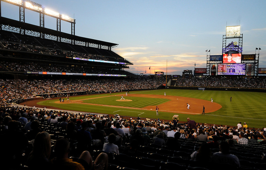09 JUNE 2010: A general view of Coors Field as the sun sets during a regular season Major League Baseball game between the Colorado Rockies and the Houston Astros at Coors Field in Denver, Colorado.  The Astros beat the Rockies 6-2 in 10 innings. *****For Editorial Use Only*****