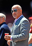10 June 2012: Washington Nationals General Manager Mike Rizzo stands in front of the dugout prior to a game against the Boston Red Sox at Fenway Park in Boston, MA. The Nationals defeated the Red Sox 4-3 to sweep their 3-game interleague series. Mandatory Credit: Ed Wolfstein Photo