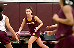 WATERBURY, CT-120618JS09-Sacred Heart senior forward Hayley Tucker, pushes the ball up court during practice Thursday at Alumni Hall. <br /> Jim Shannon Republican American