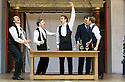 Blue Stockings by Jesscia Swale . A Shakespeare's Globe Production directed by John Dove. With Perri Snowdon as Holmes, Tommy Lawrence as Lloyd, Joshua Silver as Ralph, Luke Thompson as Will, Matthew Tennyson as Edwards. Opens at Shakespeare's Globe Theatre  on 29/8/13  pic Geraint Lewis