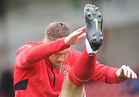 Fleetwood Town's Ashley Eastham during the pre-match warm-up <br /> <br /> Photographer Kevin Barnes/CameraSport<br /> <br /> The EFL Sky Bet Championship - Fleetwood Town v AFC Wimbledon - Saturday 10th August 2019 - Highbury Stadium - Fleetwood<br /> <br /> World Copyright © 2019 CameraSport. All rights reserved. 43 Linden Ave. Countesthorpe. Leicester. England. LE8 5PG - Tel: +44 (0) 116 277 4147 - admin@camerasport.com - www.camerasport.com