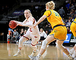 SIOUX FALLS, SD - MARCH 8: Claire Gritt #12 of the Denver Pioneers drives to the basket against Raquel Terrer van Gool #33 of the North Dakota State Bison at the 2020 Summit League Basketball Championship in Sioux Falls, SD. (Photo by Dave Eggen/Inertia)
