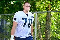 July 28, 2017: New England Patriots offensive lineman Cole Croston (70) walks to the practice fields for the New England Patriots training camp held at Gillette Stadium, in Foxborough, Massachusetts. Eric Canha/CSM