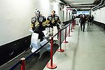 Stockholm 2014-03-21 Ishockey Kvalserien AIK - R&ouml;gle BK :  <br /> AIK:s m&aring;lvakt Daniel Larsson ser nedst&auml;md ut n&auml;r han g&aring;r mot omkl&auml;dningsrummet efter matchen tillsammans med AIK:s m&aring;lvakt Alexander Hamberg <br /> (Foto: Kenta J&ouml;nsson) Nyckelord:  depp besviken besvikelse sorg ledsen deppig nedst&auml;md uppgiven sad disappointment disappointed dejected
