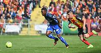 20170415 - LENS , FRANCE : Lens' Karim Hafez (R) and Auxerre's Birama Toure (R) pictured during the soccer match between Racing Club de LENS and AJ Auxerre , on the thirty third matchday in the French Dominos pizza Ligue 2 at the Stade Bollaert Delelis stadium , Lens . Saturday 15 April 2017 . PHOTO DIRK VUYLSTEKE | SPORTPIX.BE
