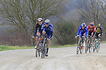The breakaway group on gravel sector 6 Pieve a Salti during the 2017 Strade Bianche running 175km from Siena to Siena, Tuscany, Italy 4th March 2017.<br /> Picture: Eoin Clarke | Newsfile<br /> <br /> <br /> All photos usage must carry mandatory copyright credit (&copy; Newsfile | Eoin Clarke)